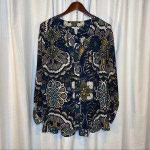 H & M Floral Print Long Sleeve Tunic size 14